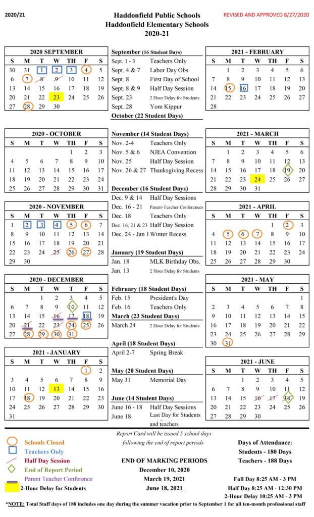 Haddonfield Elementary School Calendar 2020-2021